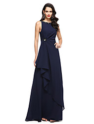 cheap -Sheath / Column Jewel Neck Floor Length Chiffon Prom / Formal Evening Dress with Beading Pleats by TS Couture®