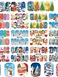 cheap -12Design/Set Water Transfer Sticker Nail Sticker Christmas Ornaments Nail Stamping Template Stickers Nail Art Design Nail Art DIY Tool