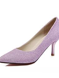 Homme-Mariage Bureau & Travail Habillé Décontracté Soirée & Evénement-Bleu Violet Argent-Talon Aiguille-Confort Nouveauté-Chaussures à