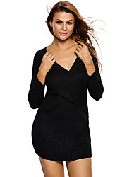 Women's Going out / Casual/Daily Sexy / Simple Bodycon Cross DressSolid Knit Deep V Above Knee Long Sleeve  Spring / FallMid