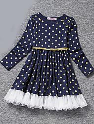 Girl's Blue / Pink Dress , Dot Polyester All Seasons