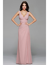 cheap -A-Line V Neck Floor Length Chiffon Bridesmaid Dress with Draping Side Draping by LAN TING Express