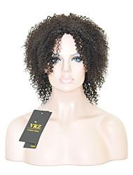 preiswerte -Menschliches Haar Capless Perücken Schwarz Mittel Afro-Frisur Seitenteil