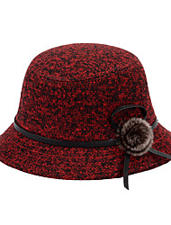 Autumn Ladies Dome British Woolen Mink Hair Flowers Mixed Color Snow Point Hat