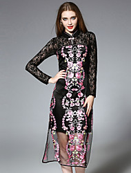 cheap -JOJO HANS Women's Daily Chinoiserie Lace Dress,Embroidered Stand Midi Long Sleeves Silk Polyester Fall Mid Rise Inelastic Medium
