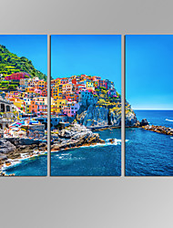 cheap -VISUAL STAR 3 Panel Seascape  Planet Photos Print on Canvas Wall Decoration Canvas Art Ready to Hang