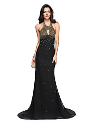 Mermaid / Trumpet Halter Floor Length Chiffon Charmeuse Formal Evening Dress with Beading by TS Couture®