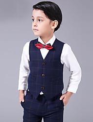 cheap -Brown Blue/White White+Red Cotton Ring Bearer Suit - Four-piece Suit Includes  Pants Vest Bow Tie Shirt