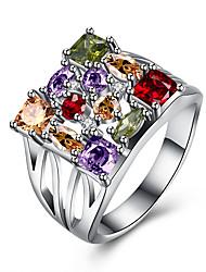 Anello Zirconi Zirconi Rame Acciaio al titanio imitazione diamante Argento Gioielli Quotidiano Casual 1 pezzo