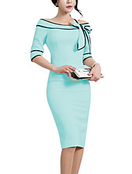 Women's Daily Going out Work Street chic Sheath Dress,Solid Boat Neck Knee-length Half Sleeves Polyester Winter Fall High Rise