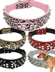 preiswerte -Hund Halsbänder Regolabile / Einziehbar Beschlagen Bequem Solide PU-Leder Rot Grün Rosa Tarnfarbe Leopard
