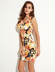 Damen Kleid - Hülle Sexy / Party Druck Mini Baumwolle Chorhemd Ausschnitt