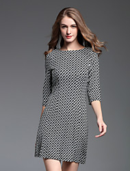 お買い得  -女性用 Aライン ドレス カラーブロック 膝上