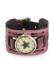 preiswerte -Damen Modeuhr Armbanduhr Armband-Uhr Quartz Wasserdicht Leder Band Vintage Böhmische Armreif Schwarz Rot