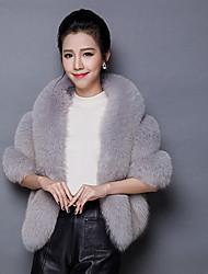 baratos -Feminino Casaco de Pêlo Informal / Casual Sofisticado Outono / Inverno,Sólido Rosa / Vermelho / Branco / Preto / Cinza Pêlo de Raposa