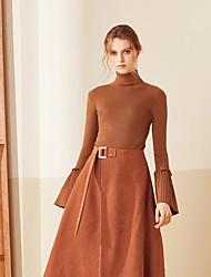 Standard Pullover Da donna-Casual Semplice Tinta unita Marrone Colletto alla coreana Manica lunga Acrilico Primavera AutunnoMedio