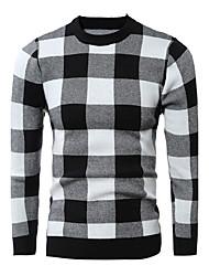 Standard Pullover Da uomo-Per uscire Casual Semplice Attivo A scacchi Rosso Nero Rotonda Manica lunga Cotone Inverno SpessoMedia