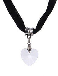 Women's Choker Necklaces Pendant Necklaces Crystal Lace Heart Dangling Style Heart Black Purple Red Blue Pink JewelryWedding Party