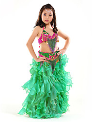 Belly Dance Outfits Children's Performance Chiffon Sequins Tassel(s) 3 Pieces Sleeveless Dropped Top Skirt Hip Scarf