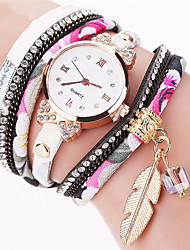 cheap -Women's Quartz Wrist Watch Bracelet Watch Colorful Punk Fabric Band Charm Sparkle Leaves Vintage Candy color Casual Bohemian Dress Watch