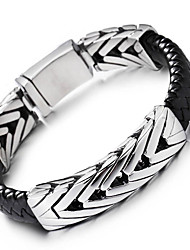 Men's Leather Bracelet Vintage Personalized Stainless Steel Leather Jewelry For Party Anniversary Birthday Gift Daily Casual