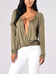 Women's Lace up Casual/Daily Sexy Summer / Fall T-shirt,Solid Deep V Long Sleeve Black / Green Polyester Thin