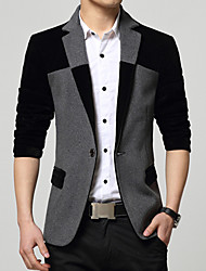 cheap -Men's Daily Work Vintage Casual Spring Fall Blazer,Color Block Shirt Collar Long Sleeve Regular Cotton Acrylic Polyester