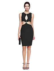 cheap -Sheath / Column Jewel Neck Knee Length Jersey Cocktail Party Homecoming Prom Dress with Pearl Detailing by TS Couture®