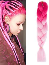 """1 confezione luce pesca ombre rosa crochet 24"""" capelli sintetici 100g 2 Tono enormi trecce yaki kanekalon fibra"""