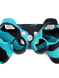 cheap -Protective Dual-Color Silicone Case for PS3 Controller (Blue and Black)