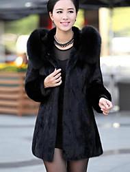 billige -Dame Ensfarvet Vintage Plusstørrelser - Frakke