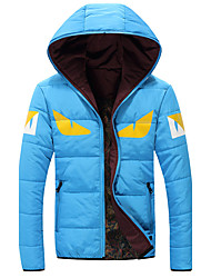 New Arrival Men's Regular Padded CoatSimple Plus Size Solid-Polyester Polyester Long Sleeve Hooded Blue