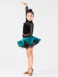 Latin Dance Outfits Children's Performance Lace Velvet Lace 2 Pieces Long Sleeve Natural Top Skirt