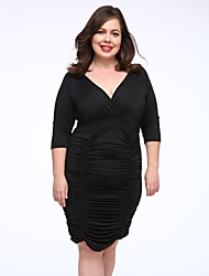 Women's Party / Plus Size Sexy Bodycon Dress,Solid Deep V Knee-length ½ Length Sleeve Blue / Red / Black / Gray Modal Fall