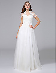 cheap -A-Line V-neck Floor Length Tulle Wedding Dress with Beading Appliques Sash / Ribbon by LAN TING BRIDE®