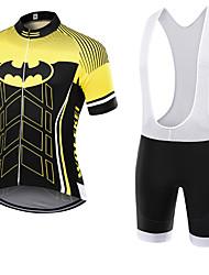 abordables -WOLFKEI Manches Courtes Maillot et Cuissard à Bretelles de Cyclisme - Jaune Vélo Ensemble de Vêtements, Séchage rapide, Respirable,