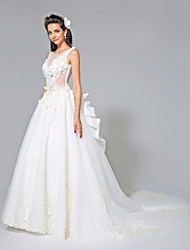 Ball Gown Illusion Neckline Chapel Train Organza Tulle Wedding Dress with Bow(s) Flower by LAN TING BRIDE®