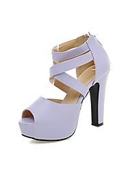 cheap -Women's Shoes PU(Polyurethane) Spring / Summer Comfort Sandals Walking Shoes Chunky Heel / Platform Peep Toe Zipper Beige / Purple / Pink