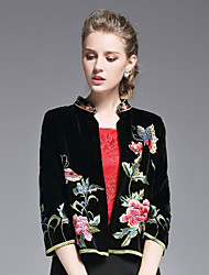 ZIYI Women's Velvet/Embroidery Casual/Daily Chinoiserie JacketsEmbroidered Length Sleeve Fall / Winter Black Polyester Medium