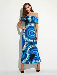 Women's Casual/Daily Boho Holiday Beach Backless Sheath Dress,Print Boat Neck Maxi Sleeveless Blue