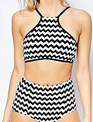 Women's Halter Bikini,Floral Polyester Black