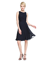 cheap -A-Line Jewel Neck Knee Length Chiffon Bridesmaid Dress with Criss Cross / Pleats by LAN TING BRIDE®