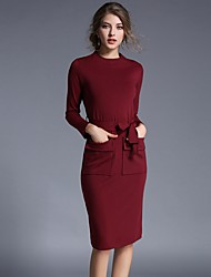 Women's Casual/Daily Simple Sheath Dress,Solid Round Neck Knee-length Long Sleeve Blue Red Polyester Fall Winter Mid Rise Inelastic Medium