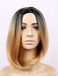 billige -Syntetiske parykker Lige Blond Bob frisure Syntetisk hår Bob med midterskilning Blond Paryk Dame Kort Lågløs