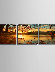 MINI SIZE E-HOME Lake Sunset Scenery Clock in Canvas 3pcs