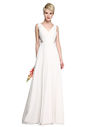 A-Line V-neck Floor Length Georgette Bridesmaid Dress with Beading Sash / Ribbon Side Draping by LAN TING BRIDE®