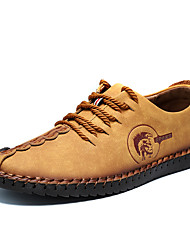 Men's Shoes Leather Spring Summer Fall Winter Comfort Oxfords Lace-up For Casual Black Yellow Khaki