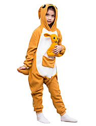 Kigurumi Pajamas Kangaroo Costume Orange Polar Fleece Leotard / Onesie Cosplay Festival / Holiday Animal Sleepwear Halloween Solid For Kid