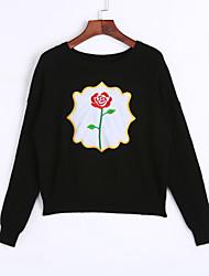 baratos -Feminino Padrão Pulôver,Casual Simples Estampado Vermelho Branco Preto Cinza Decote Redondo Manga Longa Pêlo de Coelho Primavera Outono
