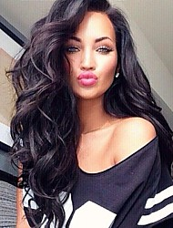 cheap -Virgin Human Hair Lace Front Wig Brazilian Hair Body Wave 130% Density With Baby Hair African American Wig Nature Black Long Women's